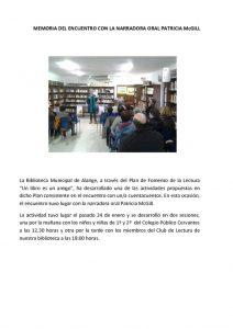 thumbnail of MEMORIA DEL ENCUENTRO CON LA NARRADORA ORAL PATRICIA McGILL